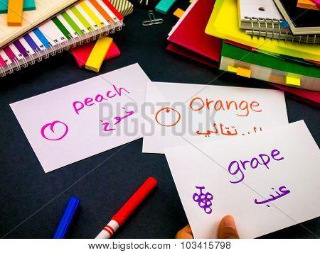 Learning New Language Making Original Flash Cards; Arabic