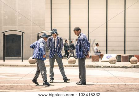 Johannesburg, South Africa - November 13, 2014: Young Students At Gandhi Square