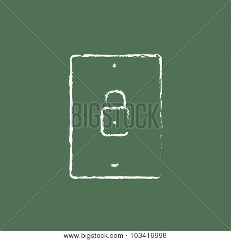 Smartphone security hand drawn in chalk on a blackboard vector white icon isolated on a green background.