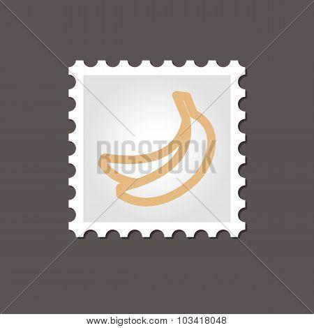 Banana stamp. Outline vector illustration