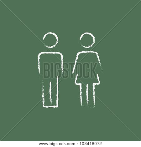 Couple hand drawn in chalk on a blackboard vector white icon isolated on a green background.