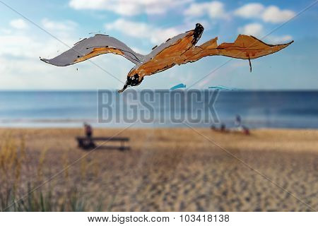 Painted On The Glass Seagull On Beach Background