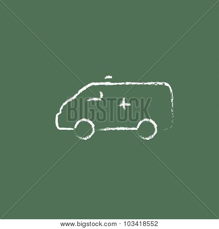 Ambulance car hand drawn in chalk on a blackboard vector white icon isolated on a green background.
