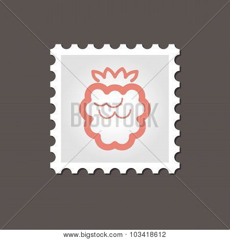 Raspberry stamp. Outline vector illustration