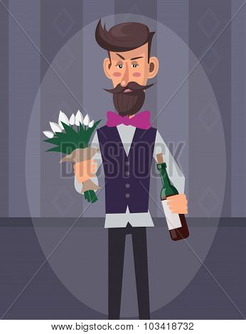Man With Flowers And Wine