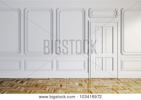 3d render of white classic interior with wooden floor