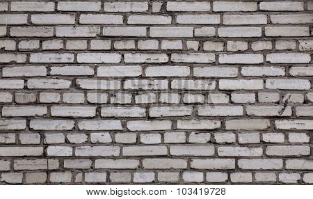Old White Brick Wall. The Wall Of The Old Brick White. Sloppy Brickwork.