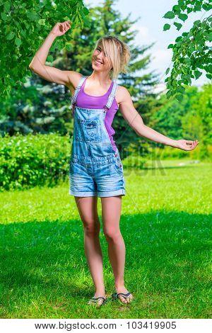 Active Slim Girl Dancing In The Park