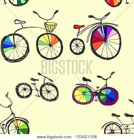 Cute doodle bicycles