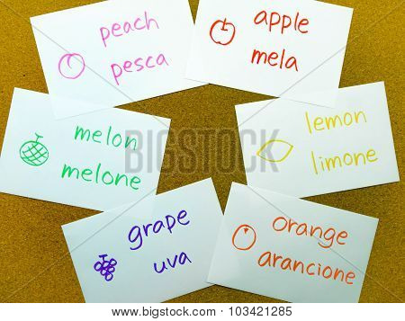 Language Flash Cards; Italian