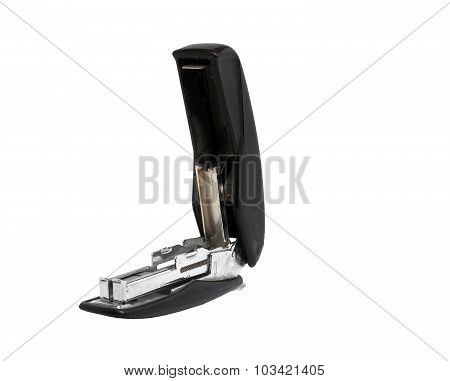 Old Dusty Black Office Stapler On A White Background