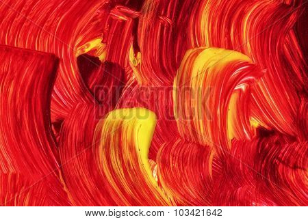 Acrylic Texture And Brush Strokes Which Resembles To Fire Or Sunset. Useful Design Elements.