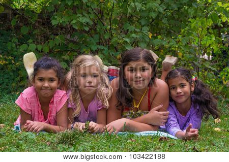 Blonde Girl Feel Bad In Gypsy Children Family With Half Sisters Group