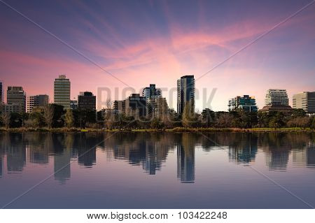 Shot Of Melbourne From Albert Park Lake At Sunset