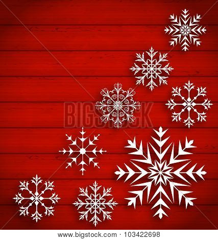 Set Abstract Different Snowflakes on Wooden Texture