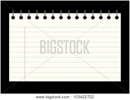 Image Of Empty School, Office Card Out Of The Notebook, Note. Cartoon Illustration Isolated On Black