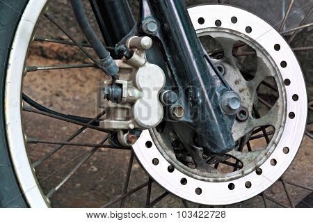 Motorcycle Wheel With Abs Brakes.