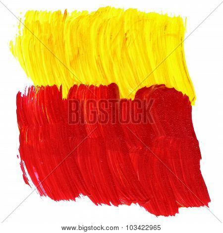 Red And Yellow Acrylic Texture And Brush Strokes. Useful Design Elements.