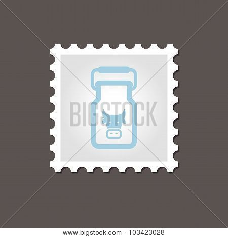 Can container for milk stamp. Outline vector