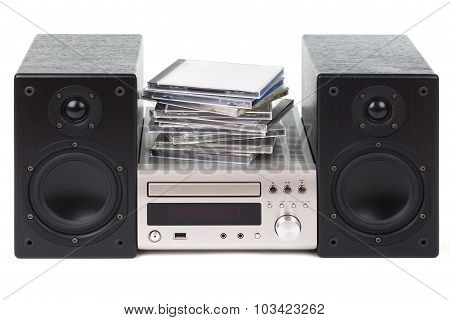 Stereo With A Stack Of Cds