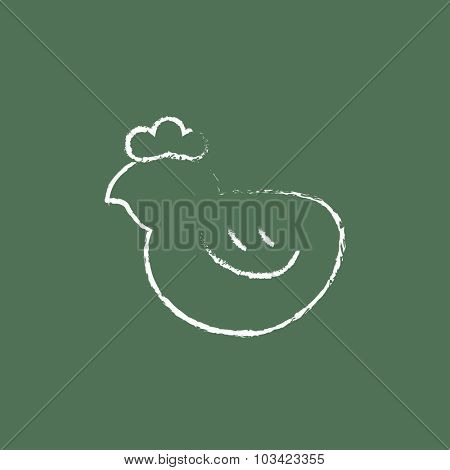 Chick hand drawn in chalk on a blackboard vector white icon isolated on a green background.