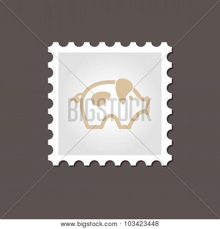 Pig stamp. Outline vector illustration