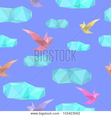 Polygonal Seamless Pattern With Birds And Clouds