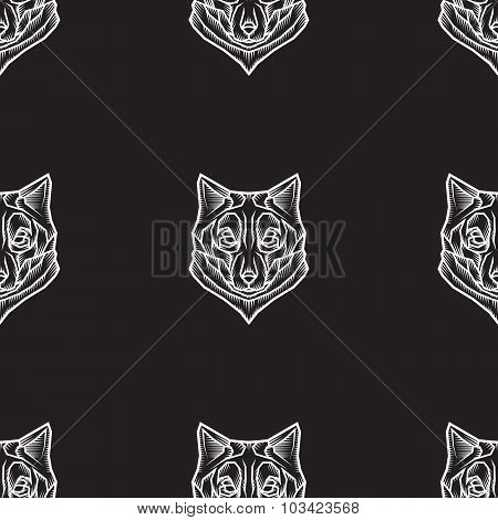 Stylized Vector Seamless Background With Wolves