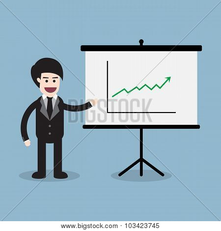 Stock Raise Up High With Business Man And Presentation Board