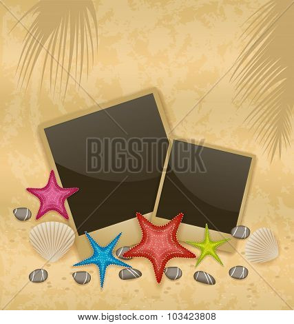Sand background with photo frames, starfishes, pebble stones, se