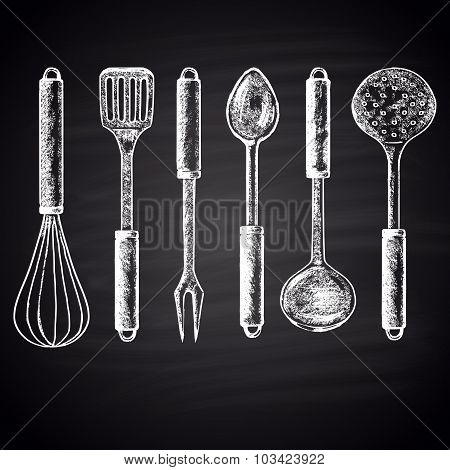 Chalk drawn set with different types of kitchen accessories (whisk, skimmer, spatula, soup ladle)