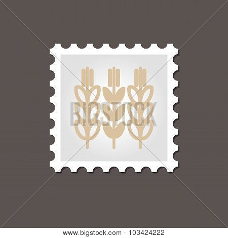 Spikelets wheat stamp. Outline vector illustration