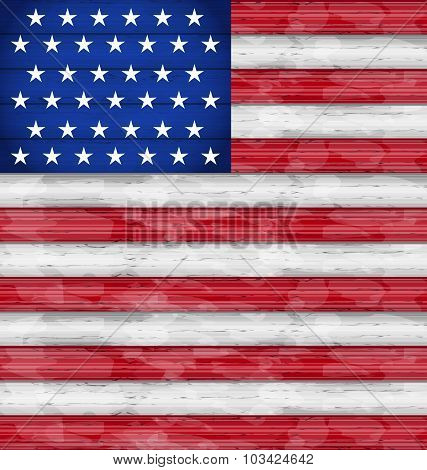 American Flag for Independence Day, wood texture