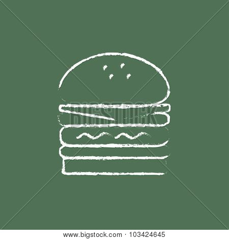 Double burger hand drawn in chalk on a blackboard vector white icon isolated on a green background.