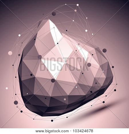3D modern spatial abstract background, origami contrast futuristic template with lines mesh.