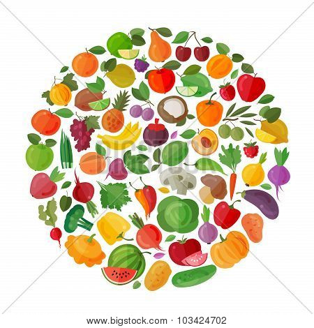 food vector logo design template. fruits and vegetables or farm icons