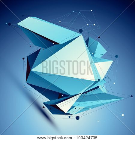 Blue contemporary technological misshapen construction, colorful abstract dimensional background