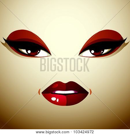 Attractive woman with stylish bright make-up and contemporary hairstyle. Sexy Caucasian tricky lady.