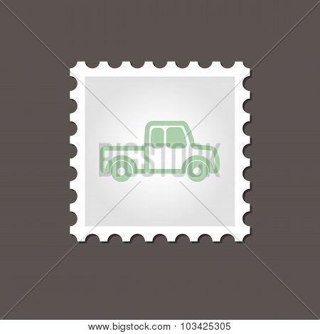 Pickup truck stamp. Outline vector illustration