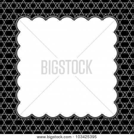Black And White Line And Zigzag Patterned Background With Embroidery