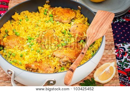Chicken Thigh And Rice Biryani With Green Peas