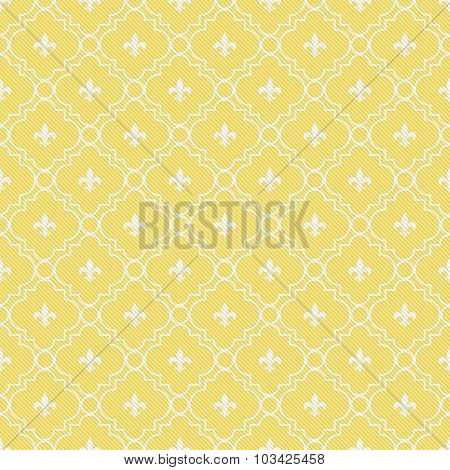 Yellow And White Fleur-de-lis Pattern Textured Fabric Background
