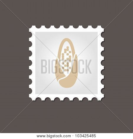 Corncob stamp. Outline vector illustration