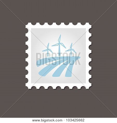 Windmill on the field stamp. Outline vector