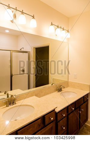 Modern Bathroom With Two Level Vanity