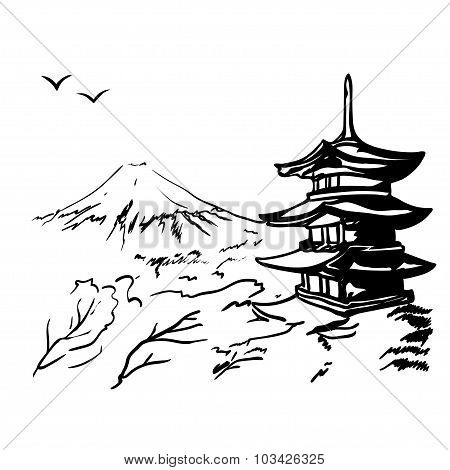 Landscape With Fuji Mount, Sakura Tree And Japan  Pagoda Illustration