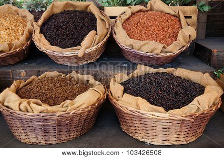 Baskets Of Various Cereals