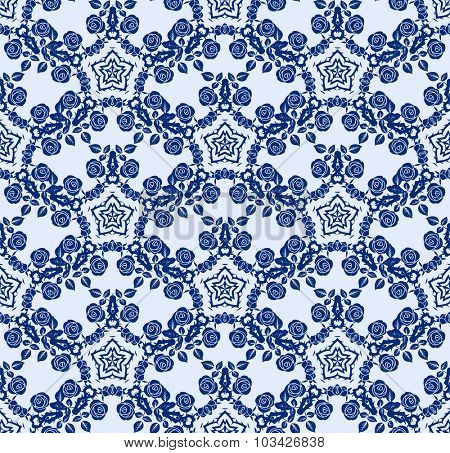 Blue floral pattern with roses ornament. Seamless background.