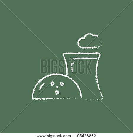 Nuclear power plant hand drawn in chalk on a blackboard vector white icon isolated on a green background.