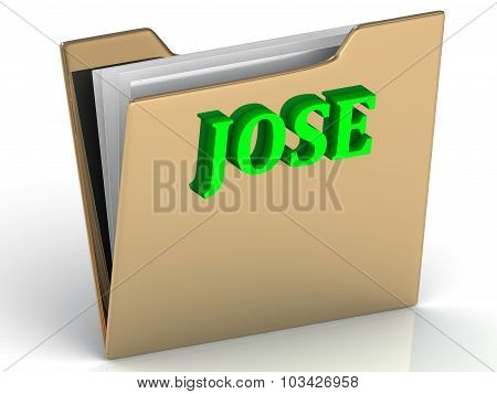 Jose- Name And Family Bright Letters On Gold